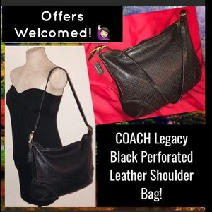 COACH Legacy Black Perforated Leather Satchel Bag!